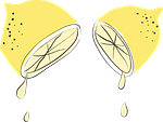 Aufgeschnittene Zitrone mit Zitronensäure