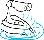 Skizziertes Bügeleisen mit Wasser