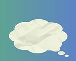 Denkblase zum Thema Richtig bügeln