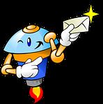 Roboter mit Tipp im Brief in der Hand